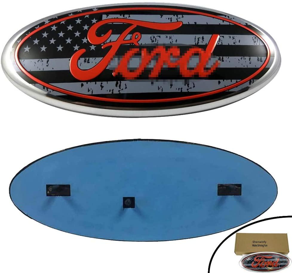 Shenwinfy rejilla frontal de la puerta posterior del emblema de 04-14 F150, Placa oval Ford Edge de 11-14, 11-16 Explorer, 06-11 Ranger, 07-14 Expedición