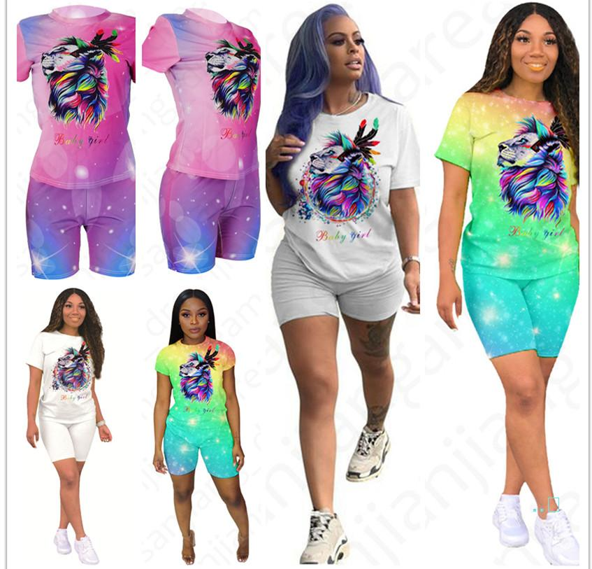 Women 2 Piece Outfits Dazzling Lion Print Short Sleeve T-Shirt Top + Shorts Pants Tracksuit Sweatsuit Sexy Night Club Sports Suit D4704