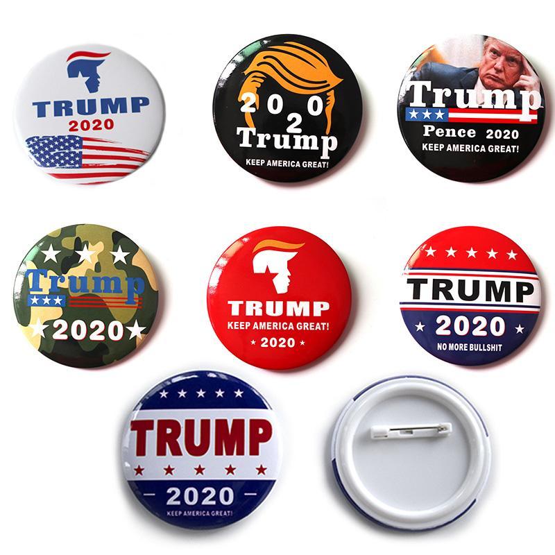Hot 2020 Trump Donald Trump botones Broches para el presidente Keep America Gran Broche Republicano Tip de hojalata pernos Placa M653F joyería