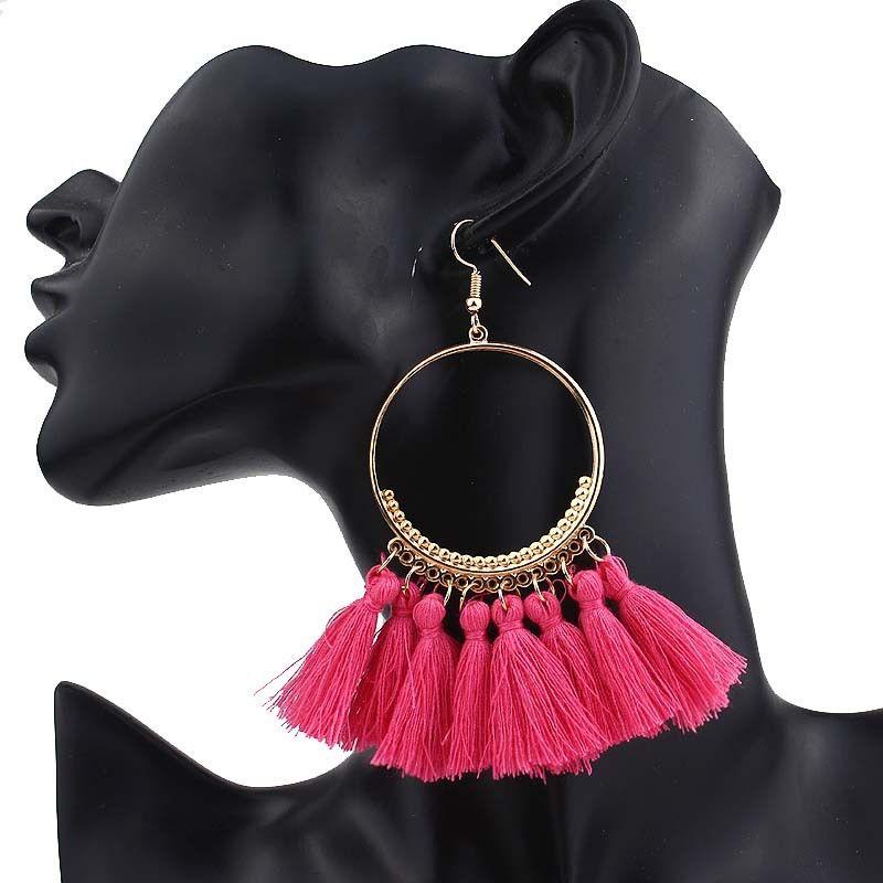 Belle courte Tassel Boucles d'oreilles pour les femmes fleur ethnique géométrique Rose signe Dangle Déclaration Boucle d'oreille 2019 Bijoux Fashion en vrac