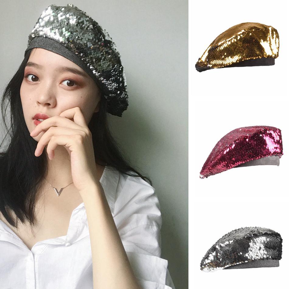 Sequins Beret Hat Women Double Color Reversible Paillette Hats mermaid Fashion England Retro Girls Cap LJJA3642-4