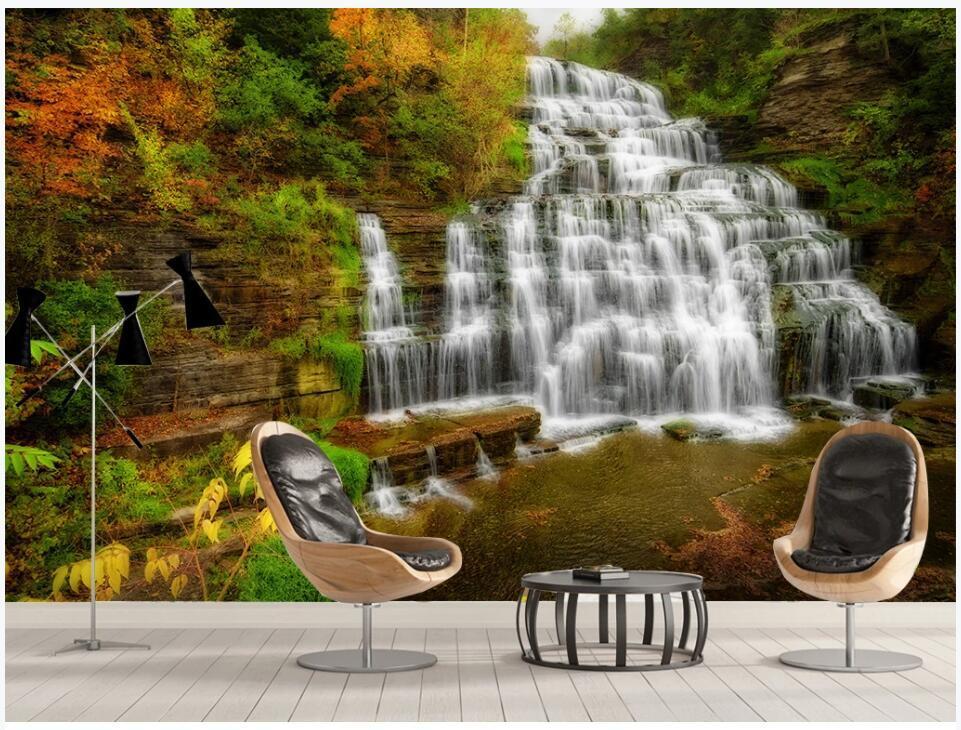 WDBH 3d wallpaer custom photo mural большой открытый природный ландшафт проточная вода водопад фон декор комнаты Обои для стен 3 d