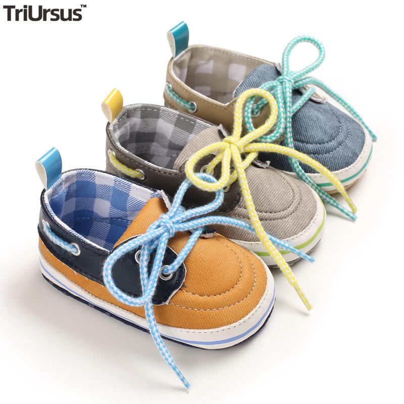 Baby Boys Girls Canvas Shoes Sporty First Walkers 2020 Spring Autumn Infant Toddler Prewalker Shoes Lace-Up Soft Sole Baby