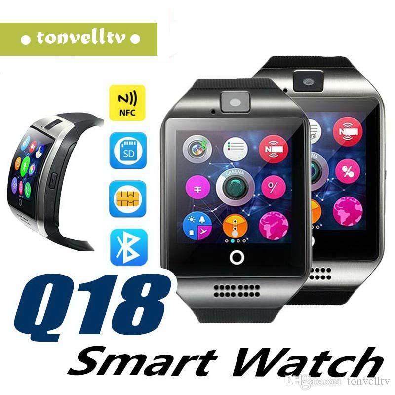 Bluetooth smart watch homens q18 com tela de toque grande apoio da bateria tf cartão sim câmera para android phone smartwatch top