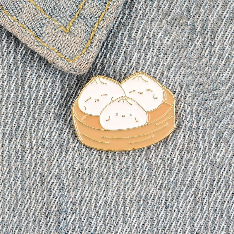 Cartoon bun enamel pin brooches for women cute steamer badge Kitchen supplies lapel pin clothes backpack fashion jewelry gift for girll