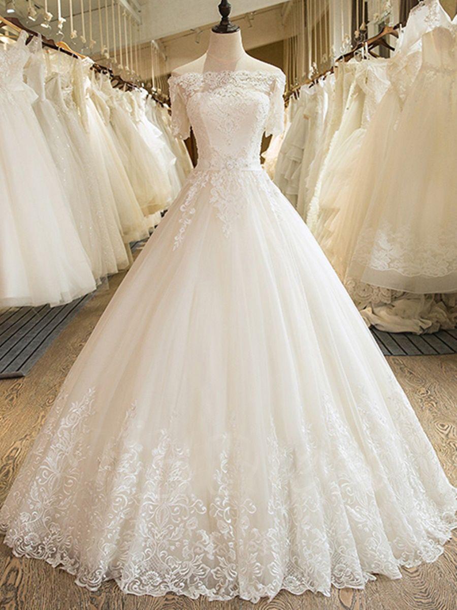 Boho 오프 숄더 Tulle 웨딩 드레스 레이스 Appiques 2020 짧은 소매 신부 드레스 vestido de noiva