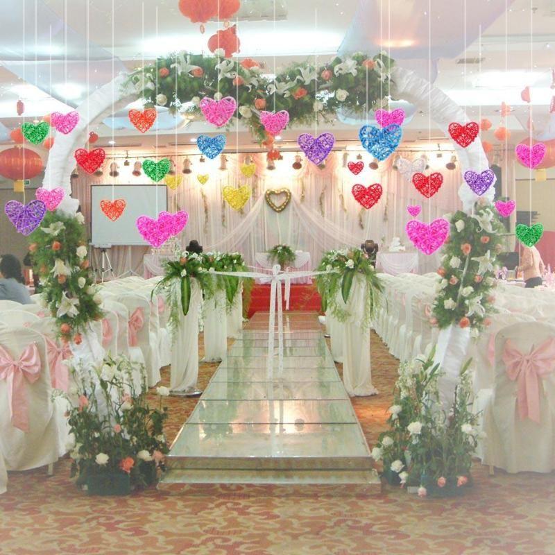5Pcs Heart Rattan Ball DIY Birthday Wedding Party Decoration Ornaments Valentine's Day Gifts for Boy Girl Friend Romantic 6cm