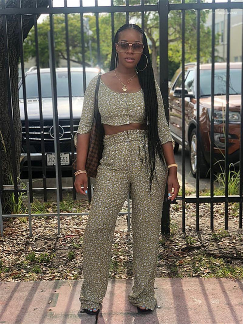 Короткая одежда привязать лук длинные брюки Женские 2шт брюки повседневная женская одежда цветочный принт женские 2шт брюки сексуальные