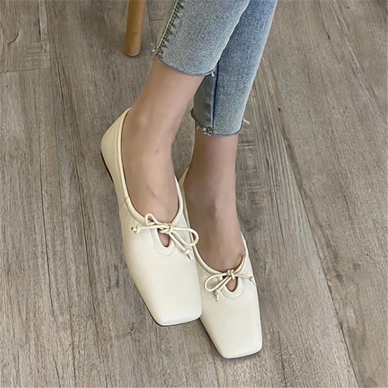 PXELENA novos coreano macio mulheres sapatilhas sapatos completa couro genuíno Toe Praça conforto acolhedor sapatos de dança da bailarina Lady preguiçosos
