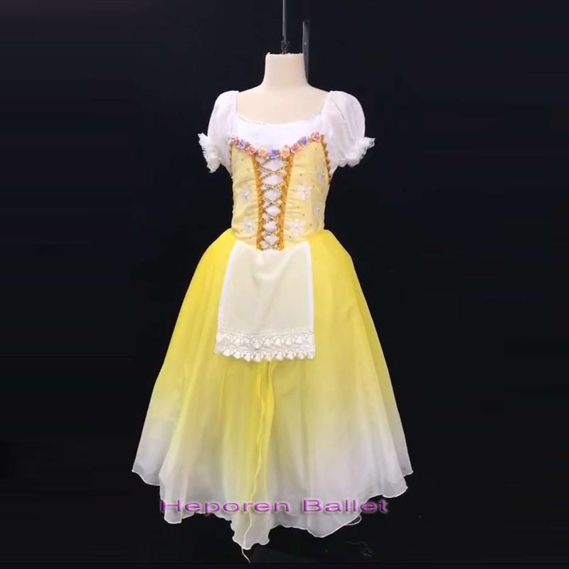 Высокое качество подгонять взрослых желтый балетное платье для выступления Габриэль, Жизель весна мягкой пряжи юбка балет на заказ