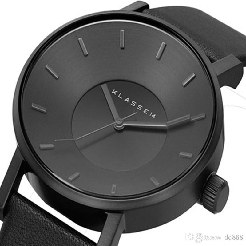 2019 montre montre KLASSE14 Mode Casual Cuir Montres Femmes hommes 42mm Busines Quartz Watch