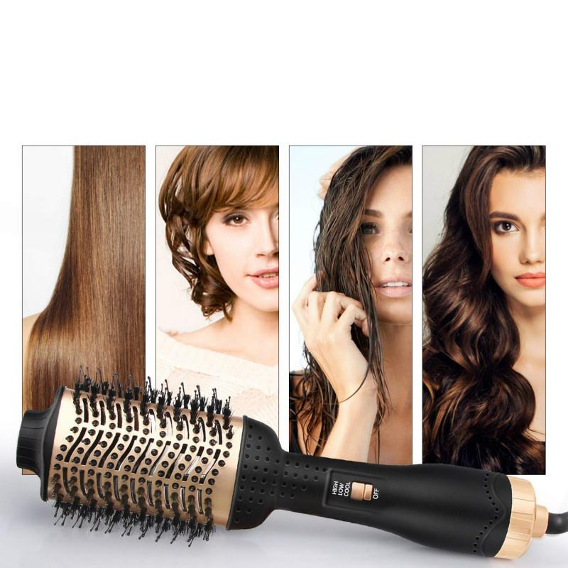 4 in 1 Hot Air Curling Brush One Step Hair Dryer Volumizer Negative Ion Straightening Brush Salon Curler Hair Styling Tools Comb