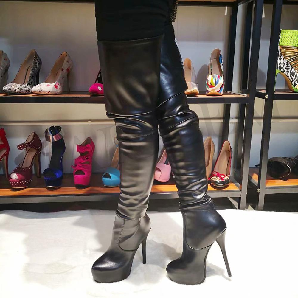 Laigzem mujeres botas sobre la rodilla de piel sintética impermeable espalda larga cremallera SEXY Ladies Women Shoes Womam Botines Mujer Tamaño grande 4-20