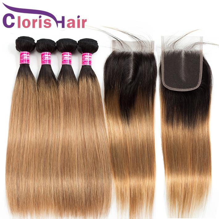 Chiusura del pizzo T1B / 27 pre-pizzicata con 3 bundle Brasiliano Vergine Vergine Ombre Humbre Hair Hair Haite Honey Blonde Estensioni colorate con chiusura