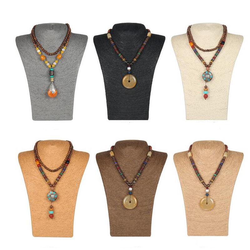 Retro Hessian Rope Mannequin Necklace Jewelry Pendant Display Shelf Rack