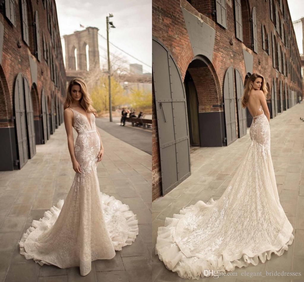 2019 Berta Mermaid Robes de mariée Sexy Pluning Vol V tang Robes De Mariage Souvenu Share Train Applique Dentelle Robe de mariée