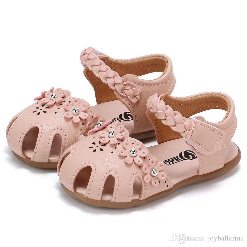 0-2 years Cute princess summer sandles soft outsole girl shoes flowers decoration quality PU leather drop shipping 6 pairs a lot