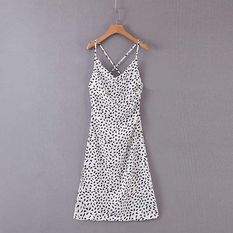 Femmes Summer Vintage Polka Dot robes sexy spaghetti Bracelet satin dos nu de Split Lacets Robe longue Casual Party robe de soirée 2020 Nouveau