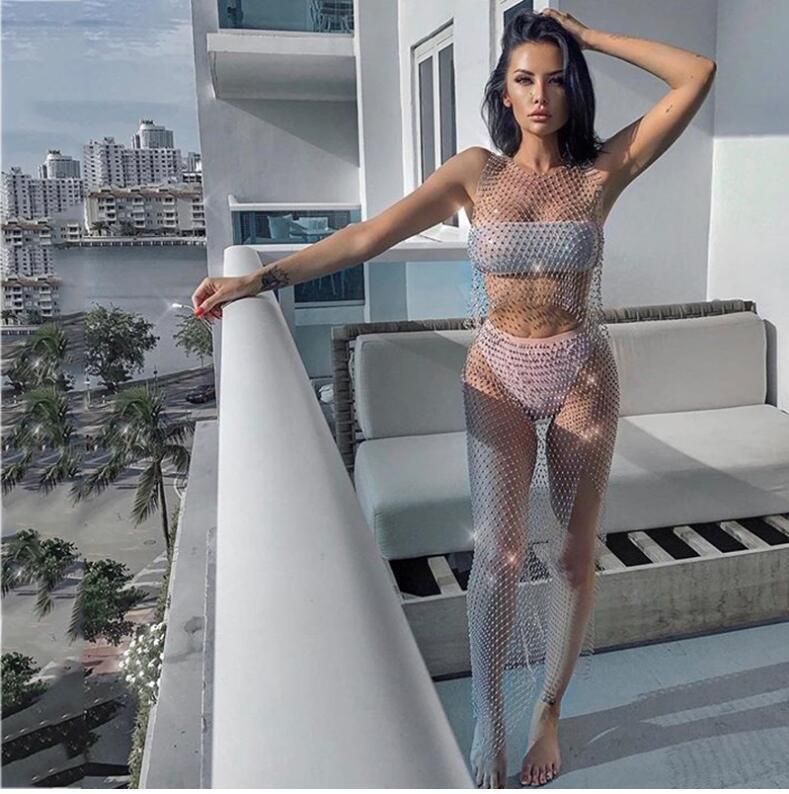 Mesh trapano lampo sexy strass scintillanti abito a due pezzi fibbia Beach copertura del sole delle donne delle donne gonna Beach Split