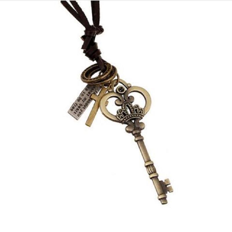 Yeni Moda Kahverengi Deri Zincir kolye Erkek Punk Tasarım Vintage Takı Antik Hollow Kalp Anahtar kolye kolye Collier