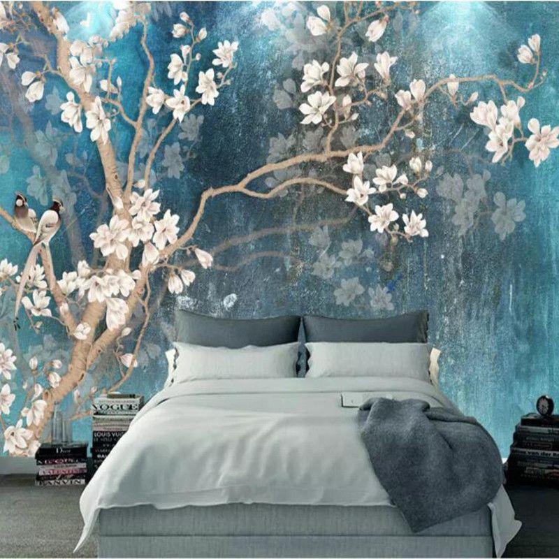 Foto HD personalizzati Sfondi Murale 3D Fiore Uccello Muro in rilievo Pittura decorativa papel de parede carte da parati decorazioni per la casa