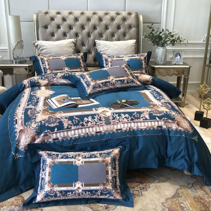 classico set di biancheria da letto occidentale adolescente adulta, piena regina 120s King Cotton copripiumino epoca federa lenzuolo matrimoniale tessili per la casa
