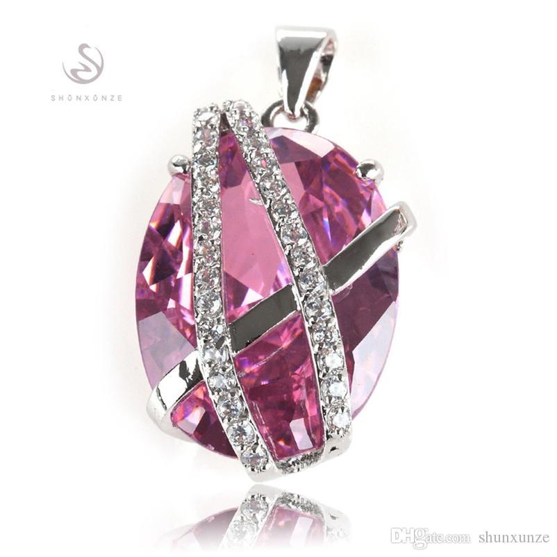 SHUNXUNZE dropshipping Berserk Wedding pendants women Jewelry & Accessories charms christmas gifts Pink Cubic Zirconia Rhodium Plated R529