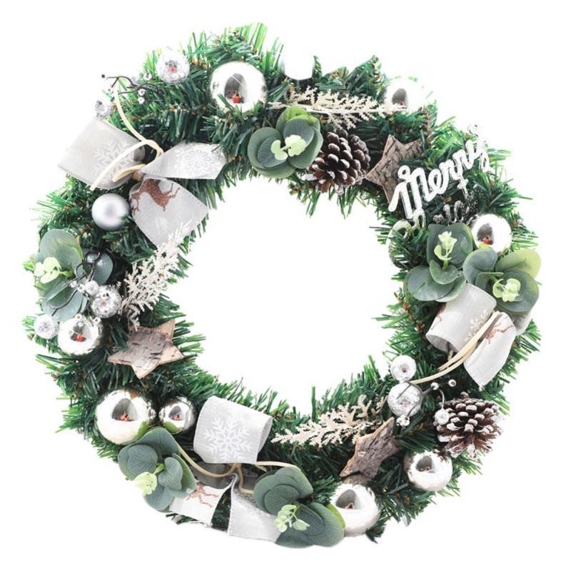 Noël artificiel Couronne porte mur décoration avec cône de pin Boule Et bowknot Cadeaux pour Noël Guirnalda Navidad 40cm