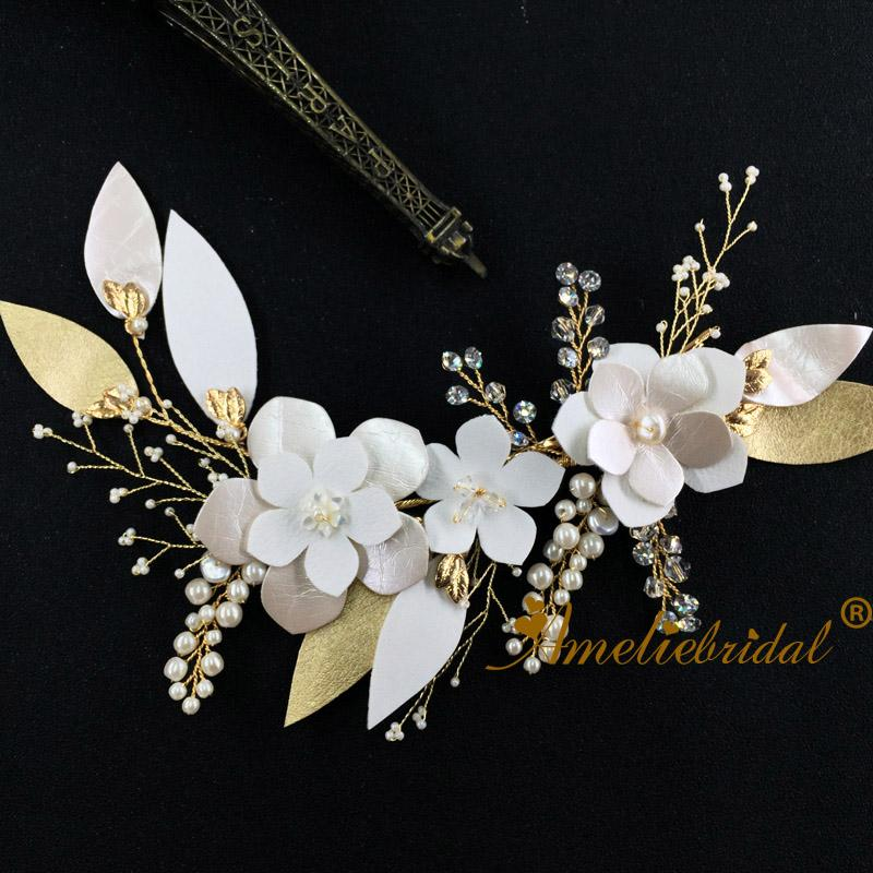 Charming Flower Headpieces Bridal Barrette Delicate Crystal Pearl Hair Clip Wedding Jewelry Dress Prom Accessories