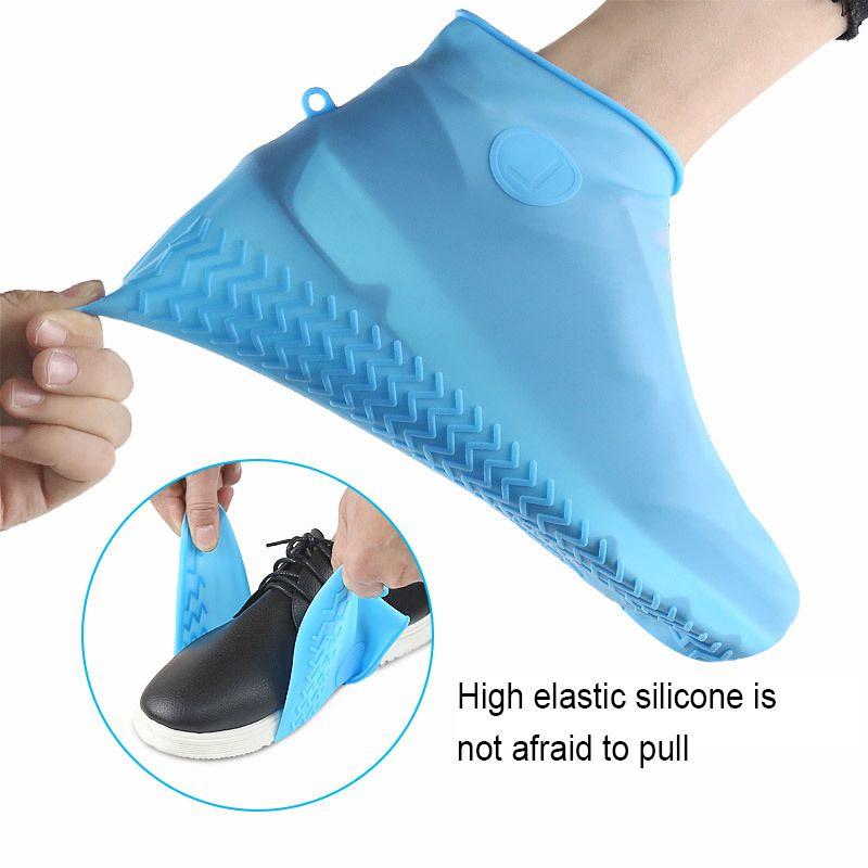 Botas impermeáveis capas de chuva sapatos botas tampa exterior Non-Slip Silicone sapato cobre de inicialização à prova d'água reutilizável Rubber