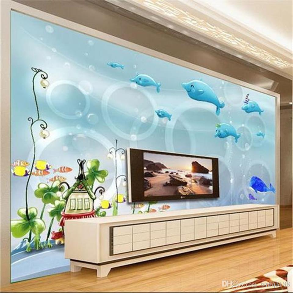 3d photo carta da parati di formato personalizzato murale camera da letto mondo sottomarino cerchio immagine divano soggiorno TV sfondo 3d parete murale carta da parati per la parete 3d