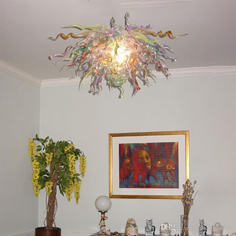 100 % 입 풍선 CE UL 붕규산 무라노 유리 데일 치 훌리 (Dale Chihuly) 예술 조명 화려한 연꽃 샹들리에