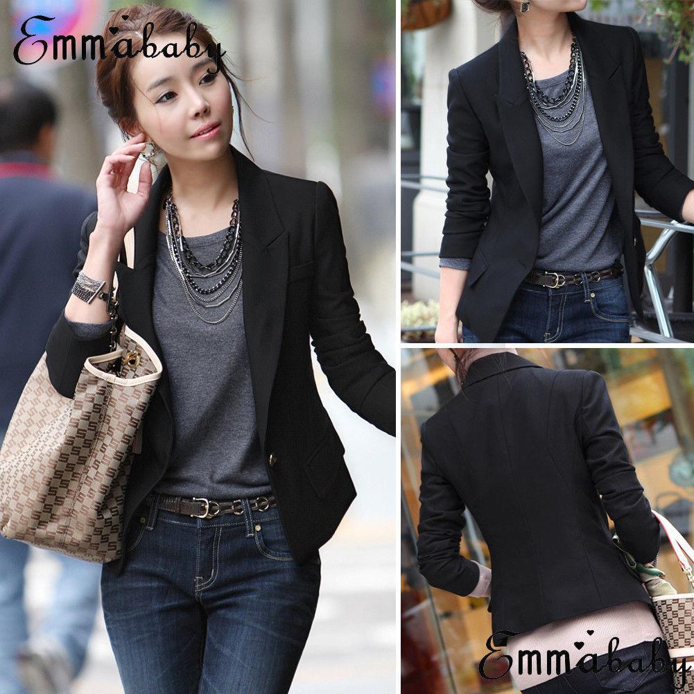 Women Slim OL Suit Casual Blazer Leopard Jacket Coat Tops Outwear Long Sleeve