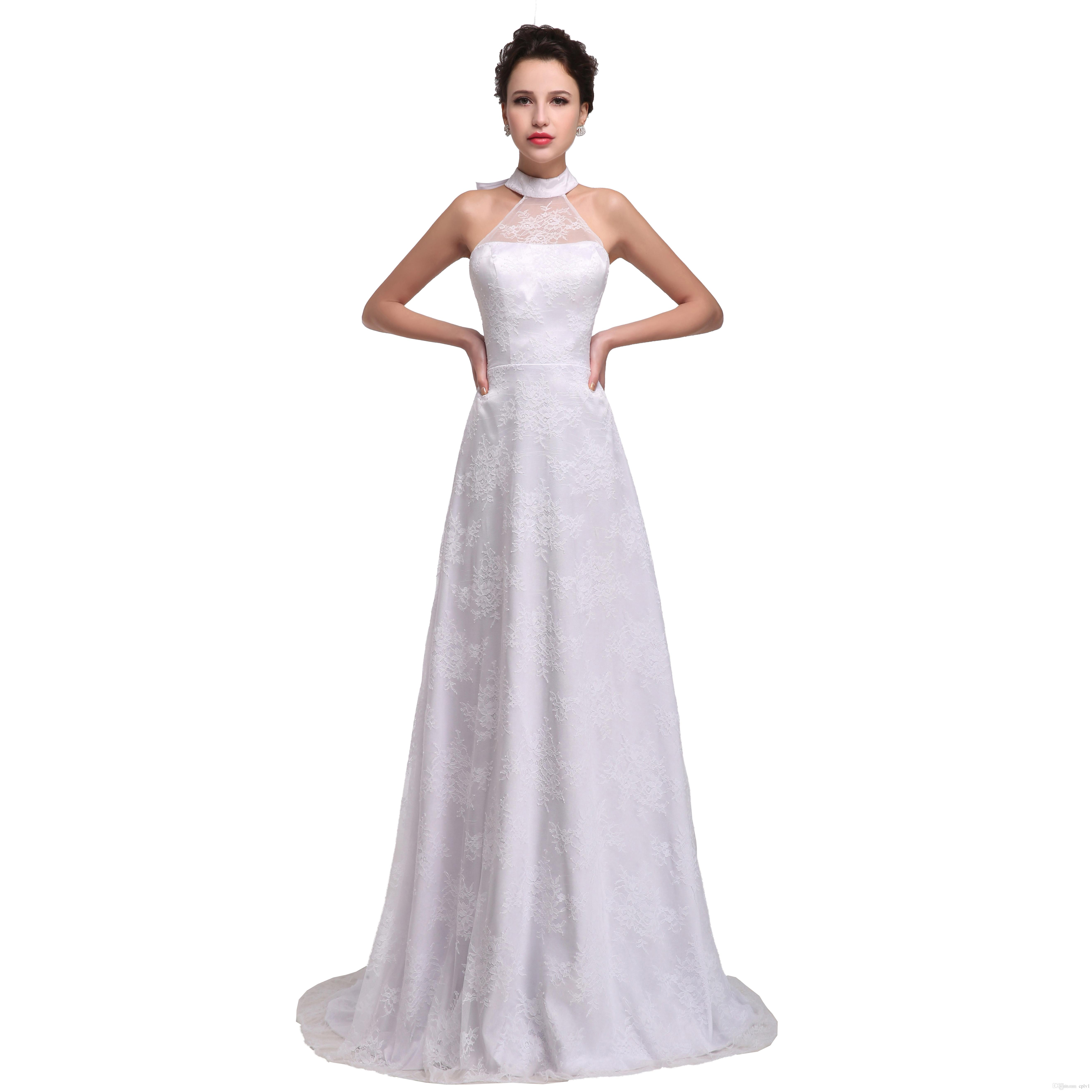 Discount 2019 Cheap Wedding Dresses White Lace Halter Wedding Gown A Line Read Pictures Beach Plus Size Wedding Dresse With Bow Cheap Bridal Gowns