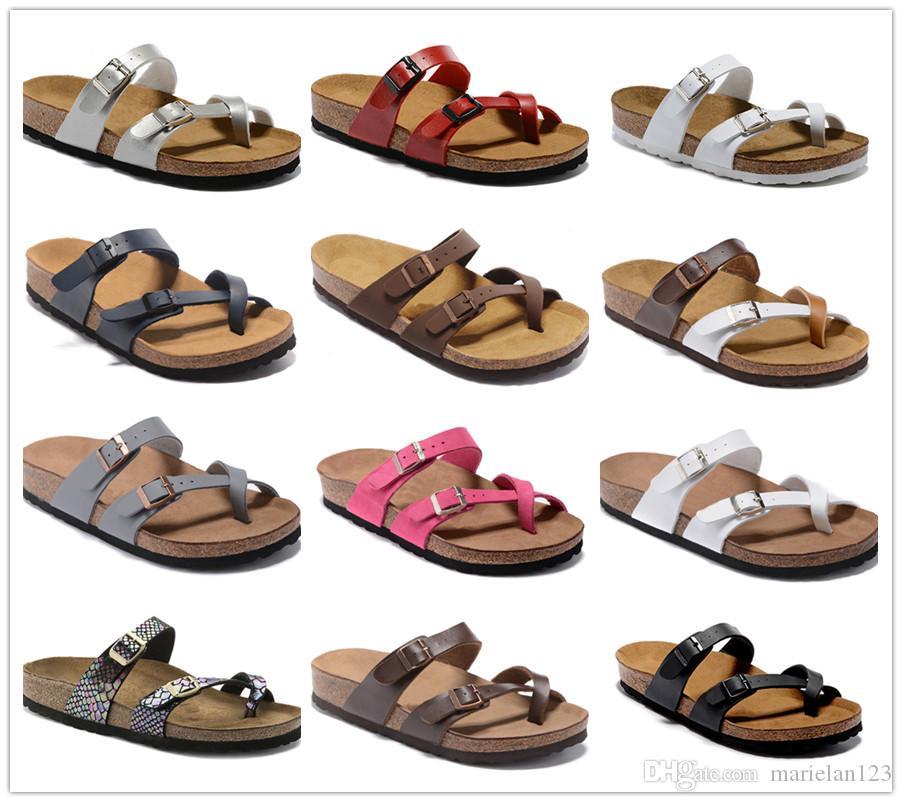 Novo estilo Praias famosa marca Masculino plana Sandals Mulheres Moda Verão Casual Branca Calçados Buckle alta qualidade chinelos de couro genuíno