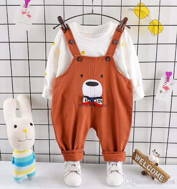 Printemps et Automne 2019 Les Costumes de nouveaux Kids'and Deux garçons Kids'Suits avec ceintures et pantalon à manches longues Bear Cartoon conviennent le mieux-vente de nouveaux modèles