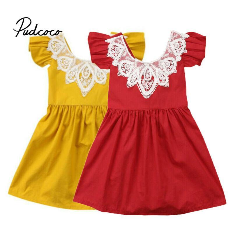 Ragazze di marca Apring autunno abito da bambino Kid neonate senza maniche Solid Lace Mesh Abiti bambini Abbigliamento casual principessa Style