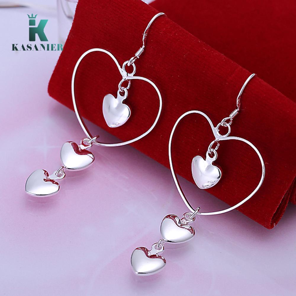 2020 NEUE Frauen Silber Modeschmuck Herz Schnur Herz OhrringeEardrop Female Herz-Ohrringe für Frauen Valentine Geschenke