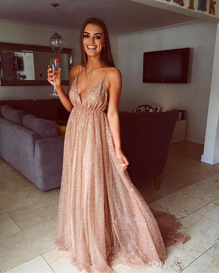 Spaghetti Straps Backless Sequin Prom Dresses Long 2019 Cheap Sexy V-Neck Bling Sequined Dress Evening Wear Cocktail Party Sweet 16 Gown