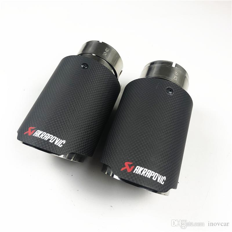 Due pezzi: fibra di carbonio opaco completo per gli universali Akrapovic Design End Suggerimenti Auto Silenziatore Car Cover Auto Styling
