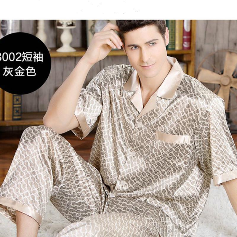 Estate Uomo Pigiama di seta stabilito Pigiama uomo Sleepwear Nightgown casa Stian morbida accogliente sottile manica corta Top + Pants