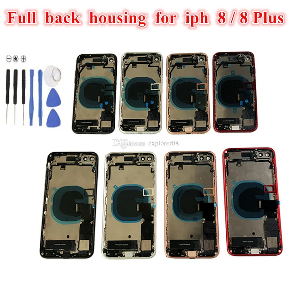 iPhone 8G 8 Artı Tam Arka Pil Kapı Konut Orta Çerçeve Paneli Kapak Montaj + Logo küçük parçalar Flex Kablo Yedek Parça için 1pcs