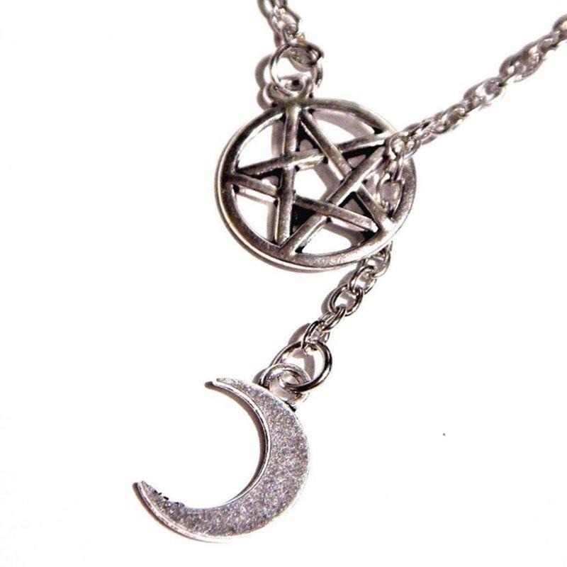 Pagan Wiccan Witch Pentagram Necklace Pendant Vintage Silver Gothic Choker Lariat Style Moon Collares Necklaces For Women Jewelry Gifts
