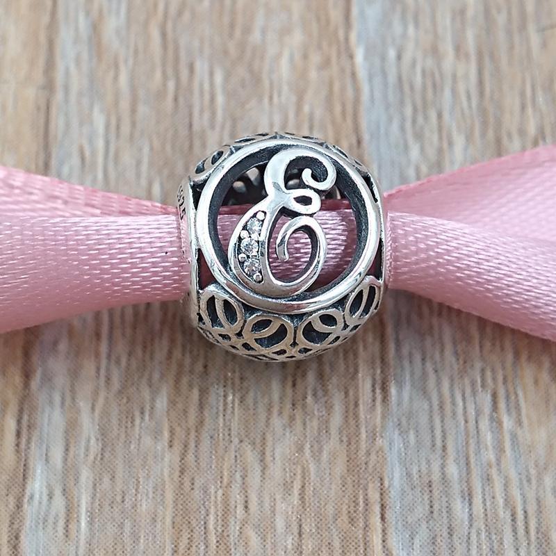 A a J LETTERE 925 Sterling Silver Beads fascino dell'annata Adatto monili dei braccialetti europeo famiglia di stile Pan collana 791845CZ