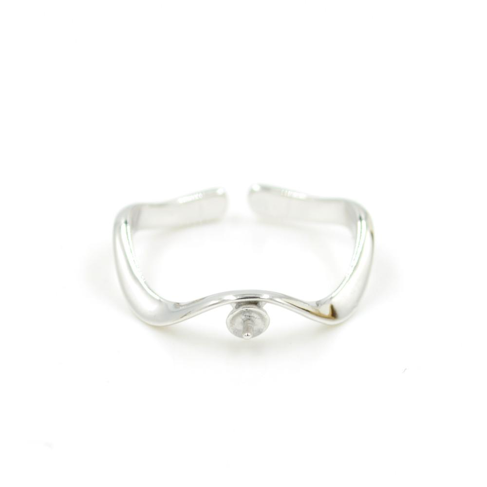 Wholesale S925 sterling silver ring mounting curve Ring mountings for women pearl jewelry diy free shipping adjustable opening ring