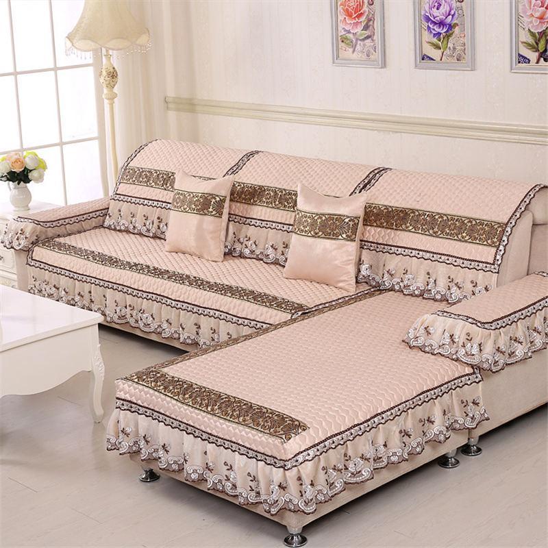 방수 누비 이불 소파 커버 소파는 다양한 스타일의 장식 거실에 적합한 치마 자수 레이스