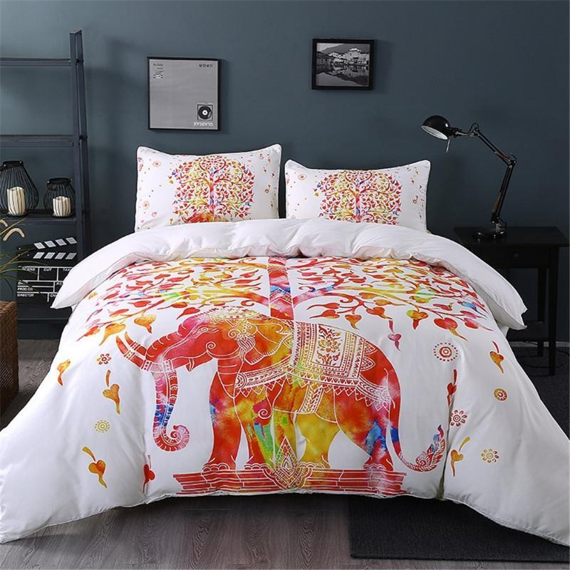 BEST.WENSD European And American Style Duvet Cover Sets Elephant