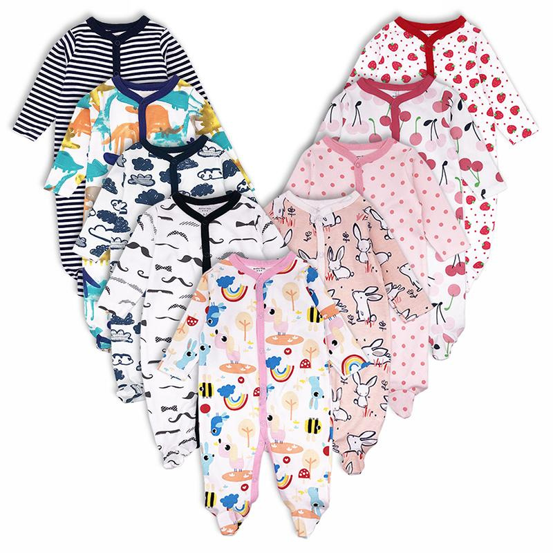 3pcs Baby Girl Boy Clothes Footed Rompers Comfortable Newborn Pajamas Cartoon Printed Infant Jumpsuit Romper Girls Clothing Set J190427