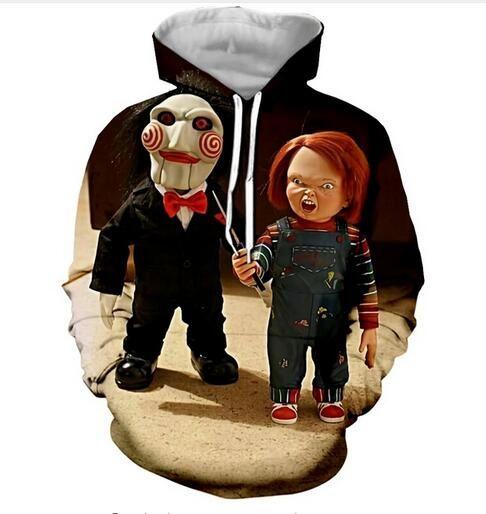 Nueva moda para mujer / hombre personaje de película de terror Chucky Casual 3d impreso Crewneck sudaderas con capucha Unisex Sportwear Coat