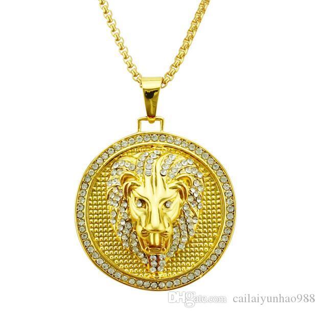 Colar de cabeça de leão redondo de ouro chapeado de hip-hop 14k